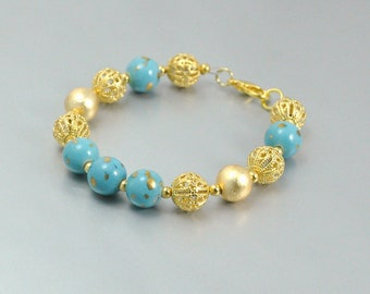 Aqua and Gold Bead Bracelet and Earrings Vintage Porcelain Filigree