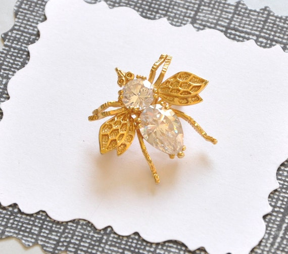 Crystal Fly Brooch Vintage Figural Insect Pin Unsigned