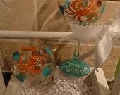 Pair of Handpainted Crab wine glasses