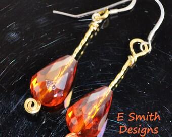 Orange fire polished glass handmade earrings in brass wire