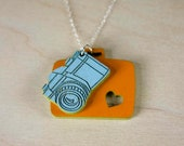 "Charm Necklace ""The Road Trip"" - Small 35mm SLR Camera in Tow with Vintage Suitcase"