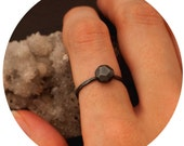 Black Cavedweller rock ring // Sterling silver Oxidized Faceted