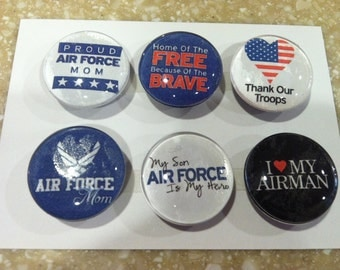 Handmade- Airforce MOM Magnets (set fo 6)