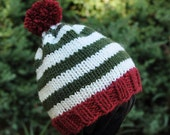 Knitted Baby Christmas Hat - Red and Green Holiday Stripes
