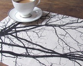 Autumn Morning Placemats in Black on Cream, Set of 4 and Ready to Ship