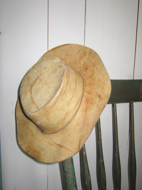 vintage leather hat  marbled 70s outback cowboy rustic hat