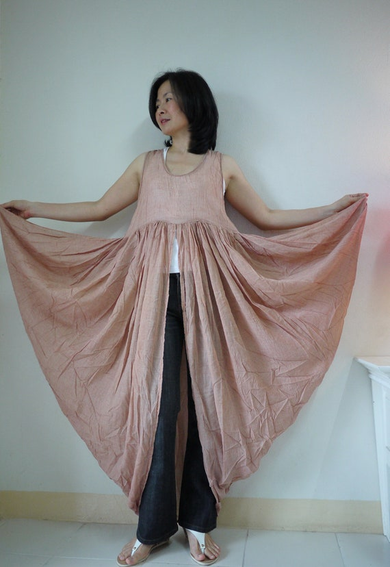 Butterfly -  Long Tanktop In Light Cotton Mix Polyester Handyded In Dusty Orange