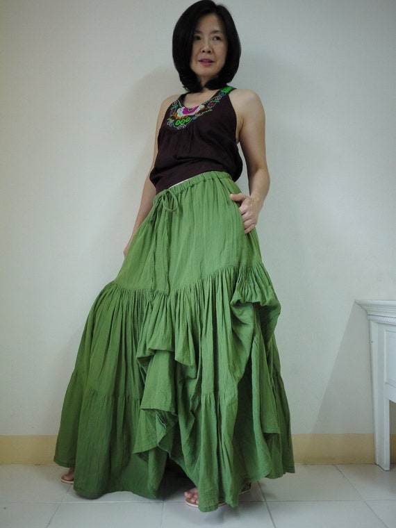 Meet You There... Steampunk Funky Green Light Cotton Ruching Tiered Maxi Skirt