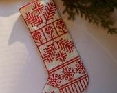 Nordic Folkart Redwork Embroidered Linen Christmas Stocking Ornament