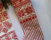 Small Nordic Scandinavian Small Christmas Stocking with Snowflakes