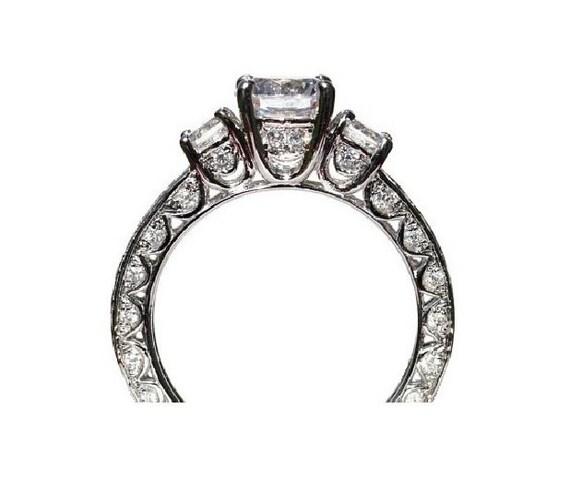 SALE - VINTAGE style Semi Mount - 1.15 carat Round - Diamond Engagement Ring 14K white gold - Luxury- Brides- Engagement - - Bp006