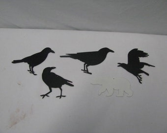 Miniature Metal Crow/Ravens Wildlife Wall Yard Art Silhouette