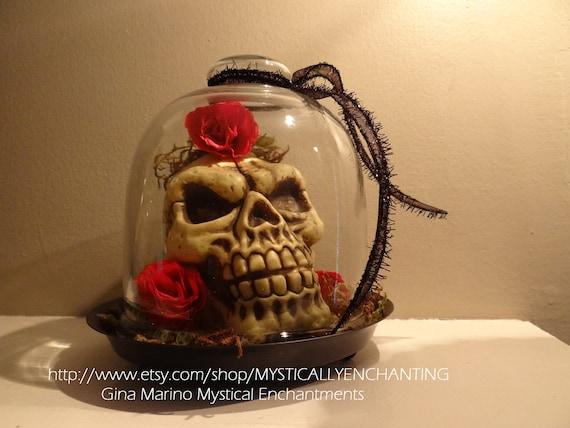 Glass Cloche with Skulls DÍA De Los Muertos Day of the Dead