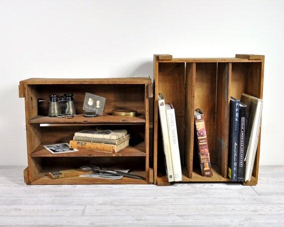 Vintage Divided Wood Crate / Wooden Box / Industrial Storage