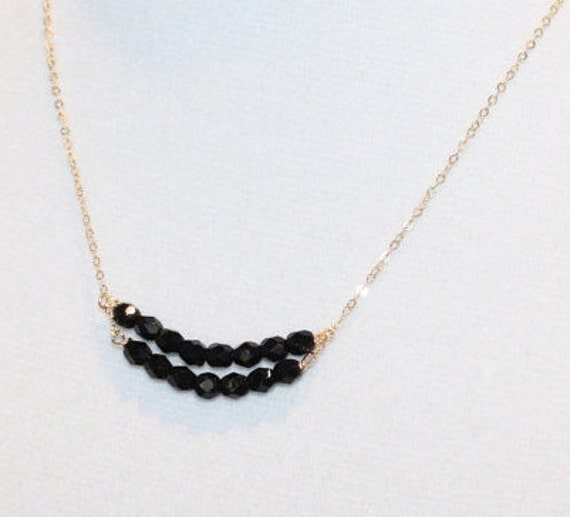 Double Bar Fire Polished Black Beads on 14/20 Delicate Gold Filled Chain