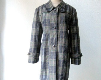 vintage 60's gray Italian wool plaid coat with leather trimming.
