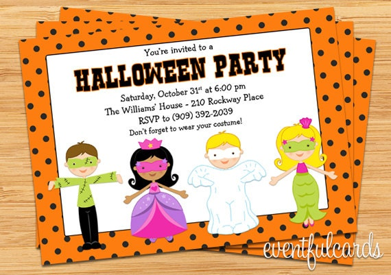 Kids Halloween Costume Party Invitation Printable – Halloween Costume Party Invite