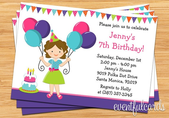 Balloon Birthday Party Invitation for Little Girl – Little Girl Party Invitations
