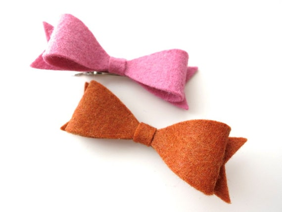 Girls Simple Felt Bow Hair Clips - Rust Brown Soft Rose Pink - Kids Fall Autumn Fashion Trends