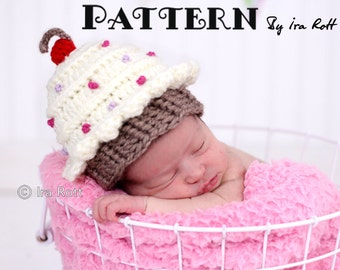 PATTERN Cherry Cupcake Hat with Sprinkles Crochet PDF Pattern