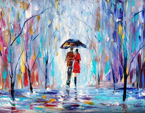 Fine art print Rainy Love - made from image of past oil painting by Karen Tarlton - impressionistic palette knife modern art