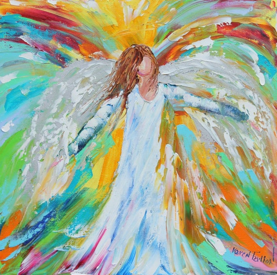 Original oil ANGEL PALETTE KNiFE painting modern impressionism impasto fine art by Karen Tarlton