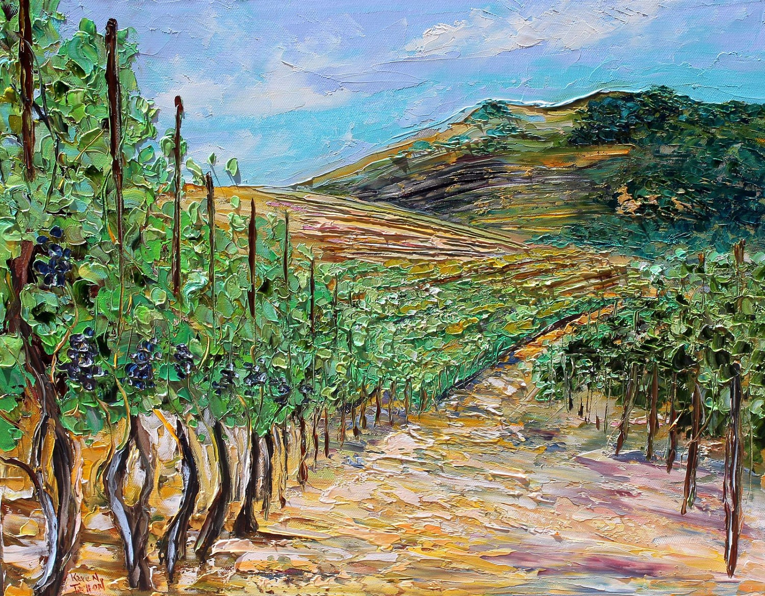 Original California Landscape Vineyard Painting By