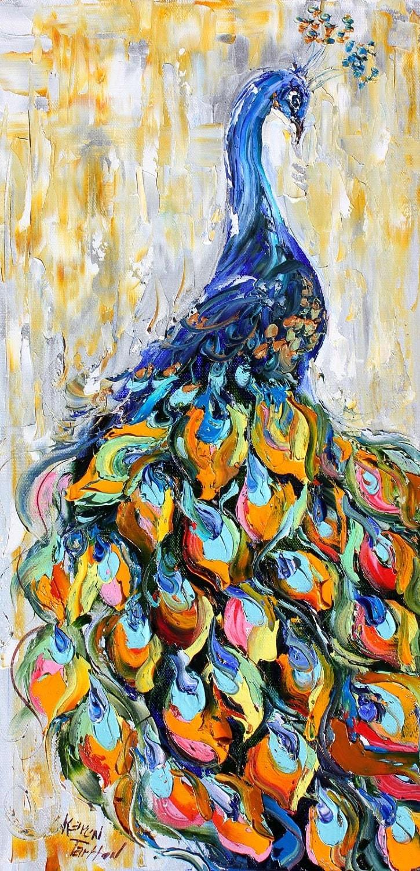 Original oil peacock bird decorative palette knife painting - Decorative painting artists ...