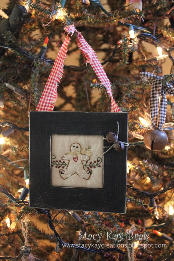 Handmade Primitive Gingerbread Christmas Ornament