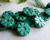 Czech Glass Beads Table Cut Daisy Coin Flower Disk Small Opaque Turquoise with rustic Picasso 12mm  (10pcs)
