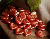 Red Leaf Beads Czech glass heart Leaf beads Red & Golden Wash 9mm (50pcs)