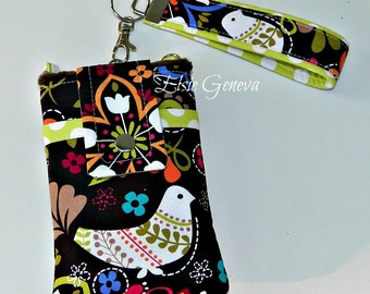 Brown Birds  Phone Case with Wristlet and Back Zipper Pocket iPhone 4 5 6 Plus Note