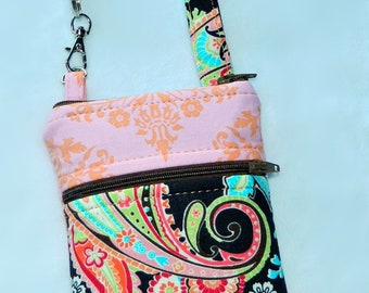 Brown Paisley & Pink and Peach Orange Aqua Green Damask Phone Case with Wristlet