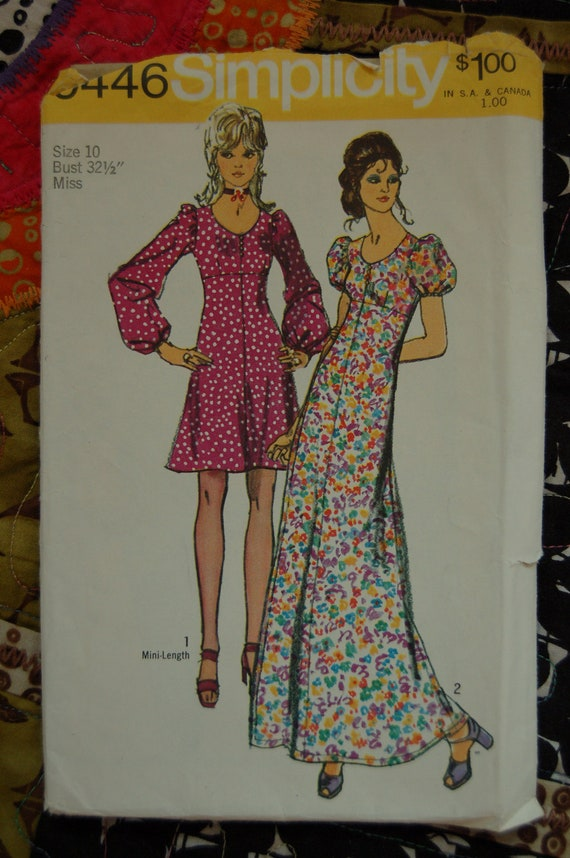 SALE 1970s Vintage Sewing Pattern - Simplicity 9446 - Puff Sleeve Dress in 2 Styles - Sz 10