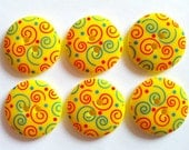 15pcs Cute Swirl Printed Retro Button Size 23 mm Yellow ( red and blue swirl)