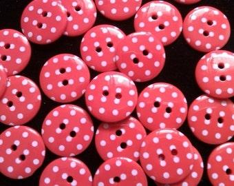 24  pcs Cute Retro Polka dot Buttons 19 mm  Red