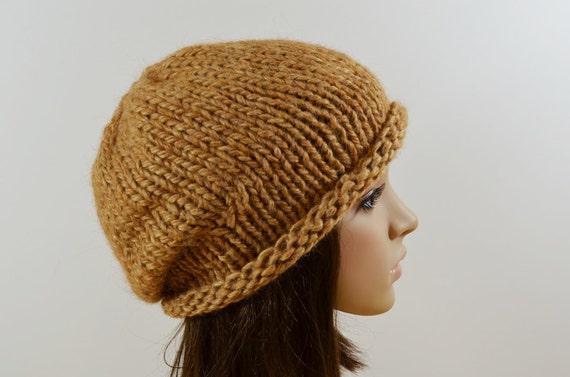 Hand Knit  Hat  Women  Men Teen Slouchy Chunky Winter  Beanie Hat in Cinnamon