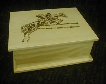 Dressage Horse Pine Keepsake Box