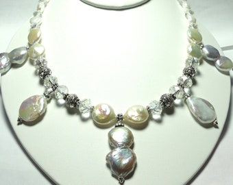 Pearl Necklace Baroque Pearl Necklace with Swarovski Crystals Statement Necklace Wedding Necklace and Sterling Bali Beads