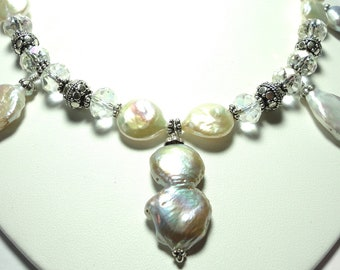 Coin Pearl Necklace Silvery Coin Pearl Necklace with Swarovski Crystals Statement Necklace Wedding Necklace and Sterling Bali Beads