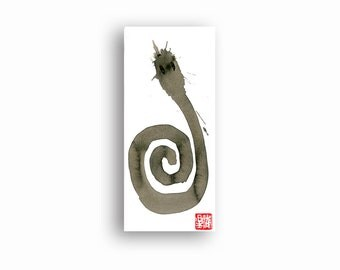 Snake, Zen Brush Painting, Year of the Snake, Zen Art, Original Painting for the Chinese Zodiac