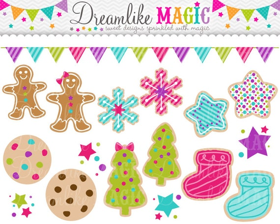Holiday Cookies, Christmas Cookies Clipart, Sugar Cookies Clipart, Gingerbread Cookies Clipart, Snowflake Cookie, Star Cookie, Stockings