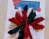 Corker Bow Hair Clip Red White and Green