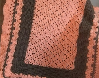 "Crochet Baby Afghan, Crochet Blanket, Peach Afghan,Chocolate and Peach Blanket, Lap Blanket, 30""x38"""