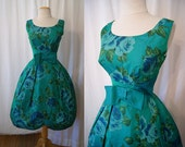 On Hold  for Chic 1950's green taffeta floral print new look cocktail party dress bow shelf bust vlv rockabilly - size Medium