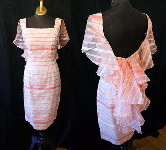 Reserved1950's  Designer dead stock pink and white ombre silk chiffon wiggle cocktail dress with low back bombshell vlv vixen - size Medium