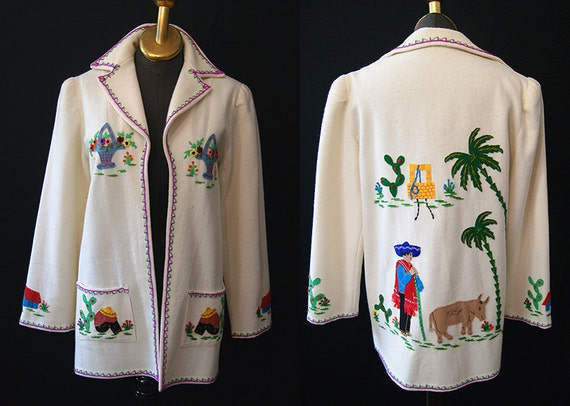 On Hold Charming 1940's Mexican cream wool tourist jacket with hand sewn appliques by Berty made in Mexico vlv ranch - size Large