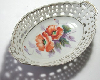 Aiyo Occupied Japan Poppy Dish, Hand Painted Pierced Oval Porcelain Dish, Orange Poppy Dish, Vintage Occupied Japan Floral Dish