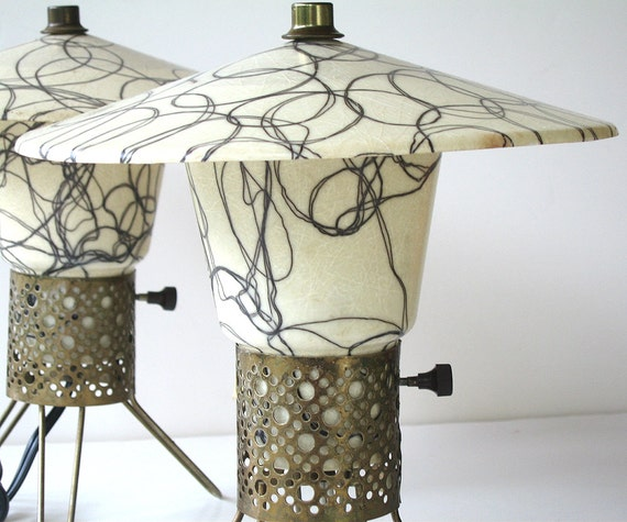 Mid Century Fiberglass Lamps Set to Two Atomic 1950s Table Lamps