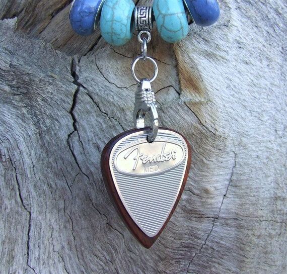 Stainless Steel Guitar Pick with Handmade Cocobolo Pendant - Necklace